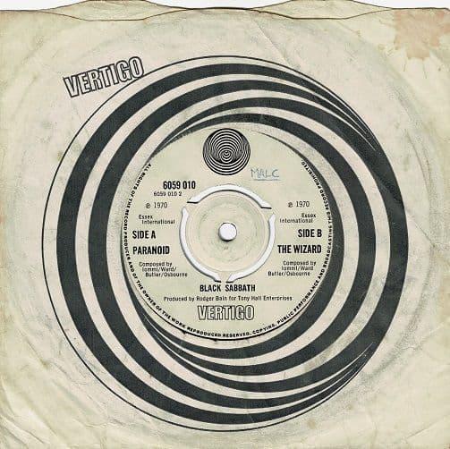 BLACK SABBATH Paranoid Vinyl Record 7 Inch Vertigo Swirl 1970