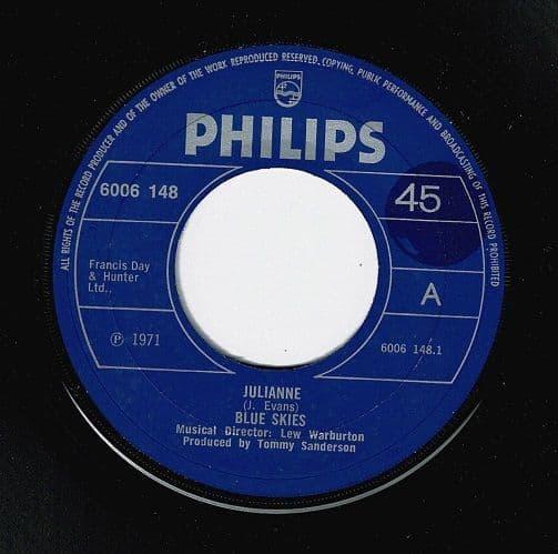 BLUE SKIES Julianne Vinyl Record 7 Inch Philips 1971