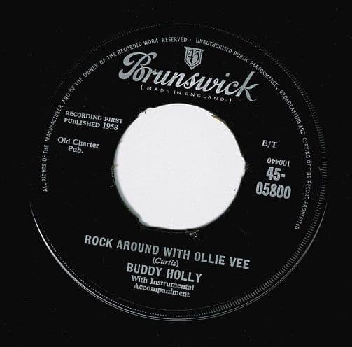 BUDDY HOLLY Rock Around With Ollie Vee Vinyl Record 7 Inch Brunswick 1959