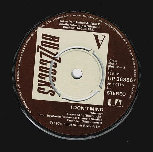 BUZZCOCKS I Don't Mind Vinyl Record 7 Inch United Artists 1978