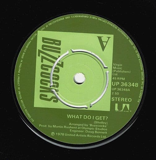 BUZZCOCKS What Do I Get Vinyl Record 7 Inch United Artists 1978