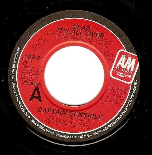 CAPTAIN SENSIBLE Glad It's All Over Vinyl Record 7 Inch A&M 1983