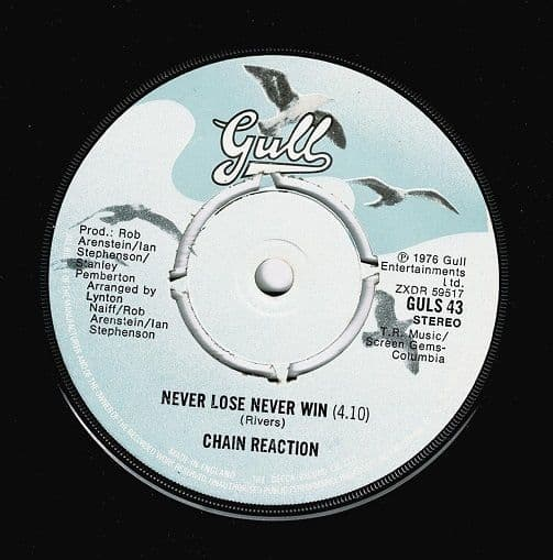 CHAIN REACTION Never Lose Never Win Vinyl Record 7 Inch Gull 1976