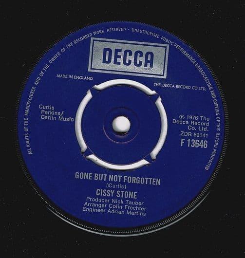 CISSY STONE Gone But Not Forgotten Vinyl Record 7 Inch Decca 1976