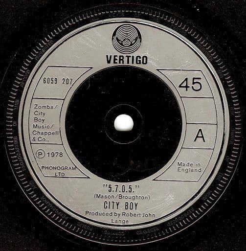 """CITY BOY """"5.7.0.5"""" Vinyl Record 7 Inch Vertigo 1978"""