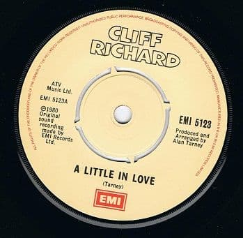 CLIFF RICHARD A Little In Love Vinyl Record 7 Inch EMI 1980