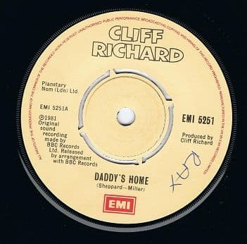 "CLIFF RICHARD Daddy's Home 7"" Single Vinyl Record 45rpm EMI 1981."