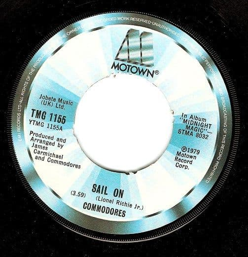 COMMODORES Sail On Vinyl Record 7 Inch Motown 1979.