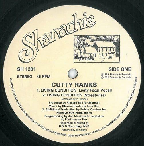 CUTTY RANKS Living Condition Vinyl Record 12 Inch US Shanachie 1992