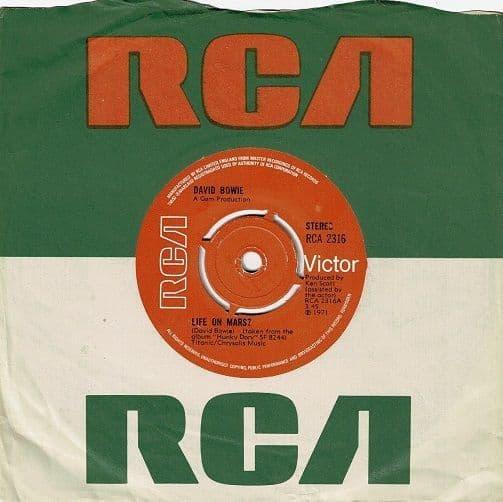 DAVID BOWIE Life On Mars Vinyl Record 7 Inch RCA Victor 1973