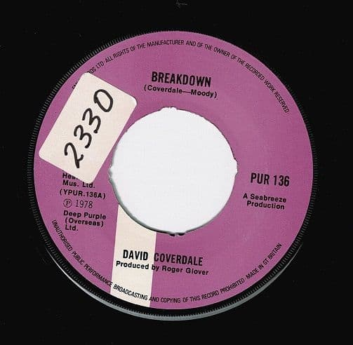 DAVID COVERDALE Breakdown Vinyl Record 7 Inch Purple 1978