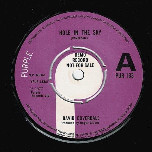 DAVID COVERDALE Hole In The Sky Vinyl Record 7 Inch Purple 1977 Demo