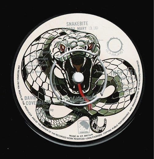 DAVID COVERDALE'S WHITESNAKE Snakebite EP Vinyl Record 7 Inch Sunburst 1978