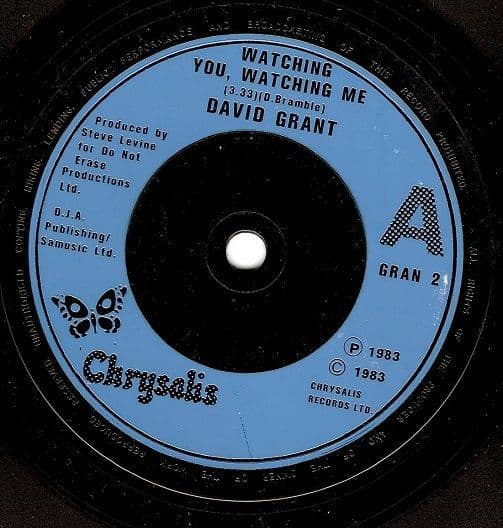 DAVID GRANT Watching You, Watching Me Vinyl Record 7 Inch Chrysalis 1983