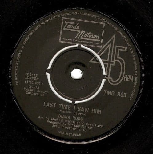 DIANA ROSS Last Time I Saw Him Vinyl Record 7 Inch Tamla Motown 1974