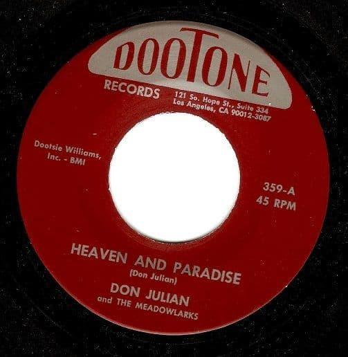 DON JULIAN Heaven And Paradise Vinyl Record 7 Inch US Dootone