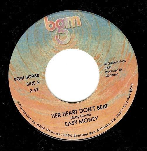 EASY MONEY Her Heart Don't Beat Vinyl Record 7 Inch US BGM
