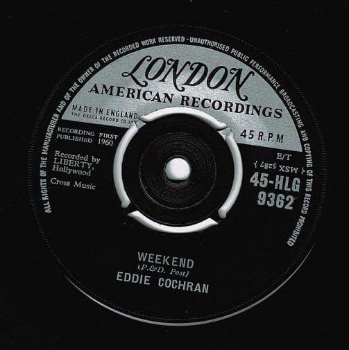 EDDIE COCHRAN Weekend Vinyl Record 7 Inch London 1960