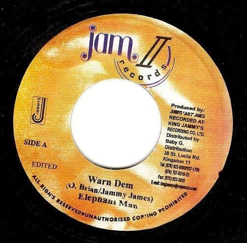 ELEPHANT MAN Warn Dem Vinyl Record 7 Inch Jamaican Jam II 2003