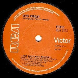 ELVIS PRESLEY I Just Can't Help Believin' Vinyl Record 7 Inch RCA Victor 1971