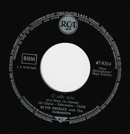 ELVIS PRESLEY It's Now Or Never Vinyl Record 7 Inch German RCA 1960