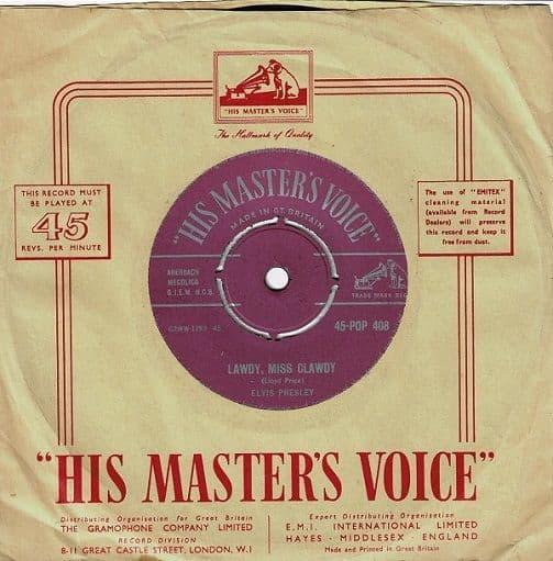 ELVIS PRESLEY Lawdy, Miss Clawdy Vinyl Record 7 Inch HMV 1957