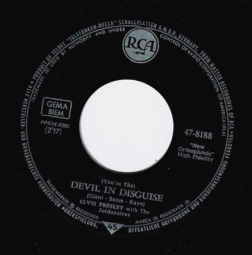 ELVIS PRESLEY (You're The) Devil In Disguise Vinyl Record 7 Inch German RCA 1963