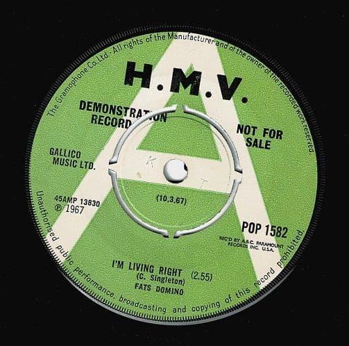 FATS DOMINO I'm Living Right Vinyl Record 7 Inch HMV 1967 Demo