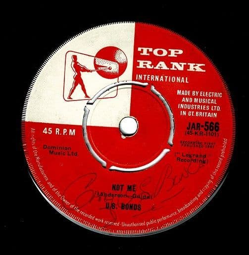 GARY U.S. BONDS Not Me Vinyl Record 7 Inch Top Rank 1961 Signed