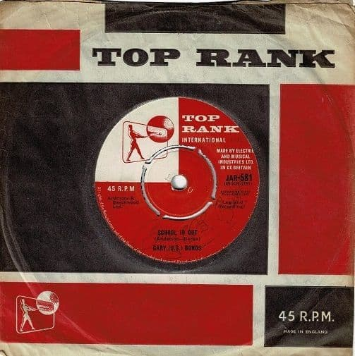 GARY U.S. BONDS School Is Out Vinyl Record 7 Inch Top Rank 1961 Signed
