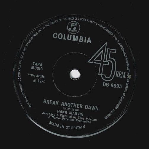HANK MARVIN Break Another Dawn Vinyl Record 7 Inch Columbia 1970