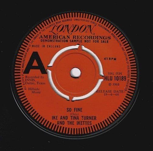 IKE AND TINA TURNER So Fine Vinyl Record 7 Inch London 1968 Demo