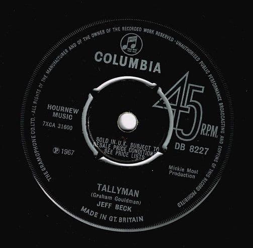 JEFF BECK Tallyman Vinyl Record 7 Inch Columbia 1967