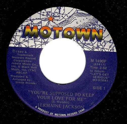 JERMAINE JACKSON You're Supposed To Keep Your Love For Me Vinyl Record 7 Inch US Motown 1980