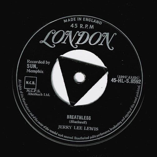 JERRY LEE LEWIS Breathless Vinyl Record 7 Inch London 1958