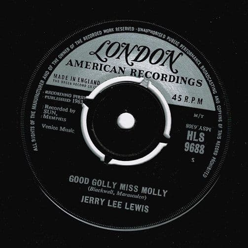 JERRY LEE LEWIS Good Golly Miss Molly Vinyl Record 7 Inch London 1963