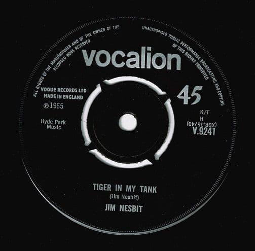 JIM NESBITT Tiger In My Tank Vinyl Record 7 Inch Vocalion 1965