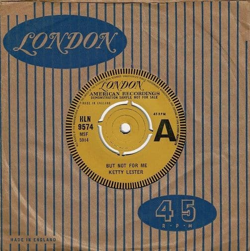 KETTY LESTER But Not For Me Vinyl Record 7 Inch London 1962 Demo