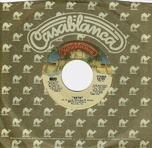 KISS Beth Vinyl Record 7 Inch US Casablanca 1976