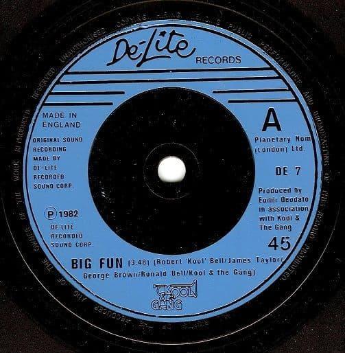 KOOL AND THE GANG Big Fun Vinyl Record 7 Inch De-Lite 1982