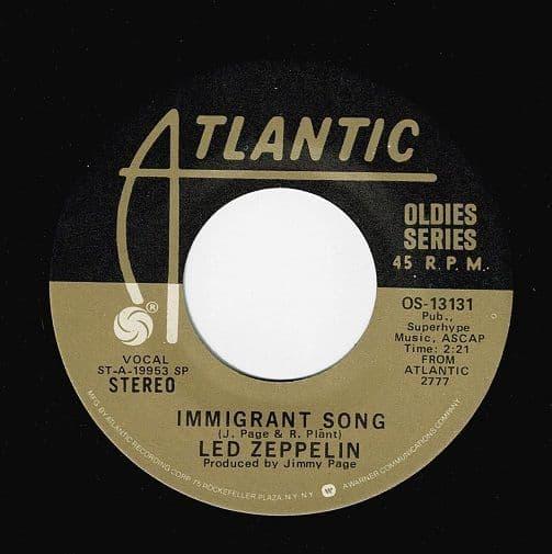 LED ZEPPELIN Immigrant Song Vinyl Record 7 Inch US Atlantic 1974