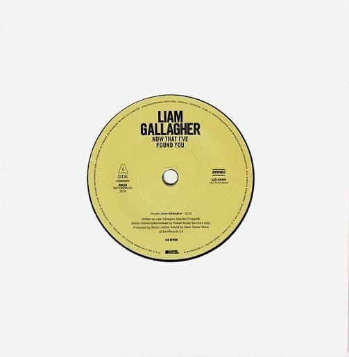 LIAM GALLAGHER Now That I've Found You Vinyl Record 7 Inch Warner 2019