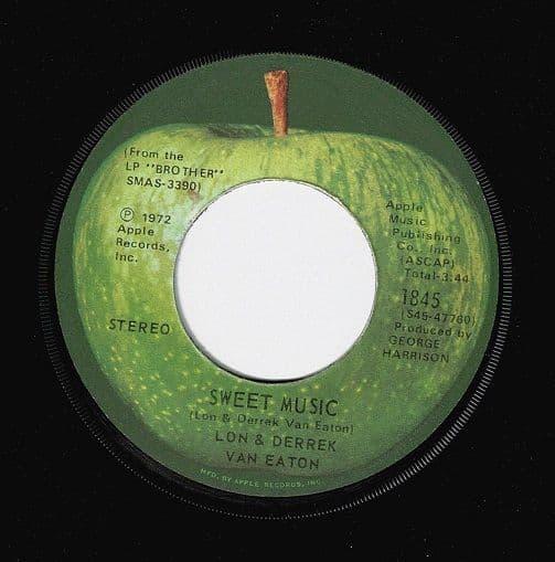 LON & DERREK VAN EATON Sweet Music Vinyl Record 7 Inch US Apple 1972