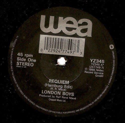 LONDON BOYS Requiem Vinyl Record 7 Inch WEA 1988