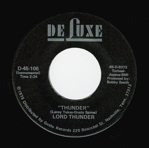 LORD THUNDER Thunder Vinyl Record 7 Inch US DeLuxe 1975.