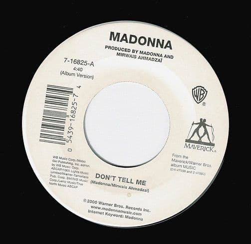 MADONNA Don't Tell Me Vinyl Record 7 Inch US Maverick 2001