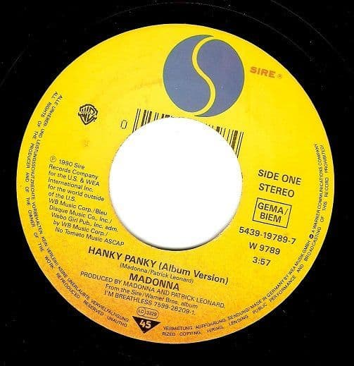 MADONNA Hanky Panky Vinyl Record 7 Inch German Sire 1990