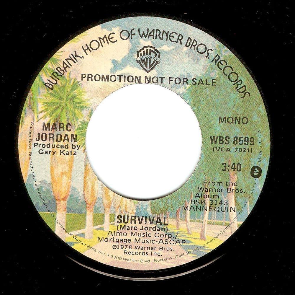MARC JORDAN Survival Vinyl Record 7 Inch US Warner Bros. 1978 Promo