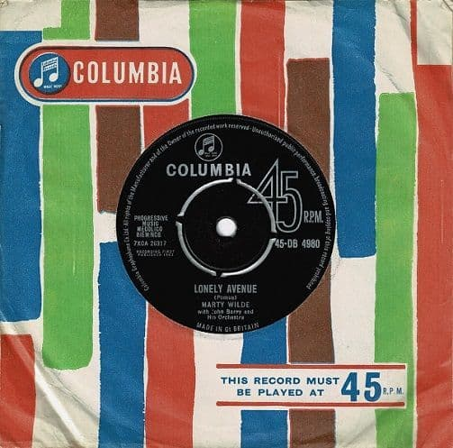 MARTY WILDE Lonely Avenue Vinyl Record 7 Inch Columbia 1963