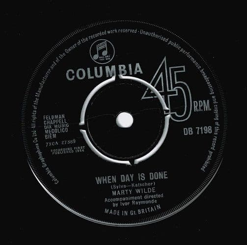 MARTY WILDE When Day Is Done Vinyl Record 7 Inch Columbia 1964